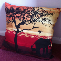 Large Africa Elephant Print Cushion