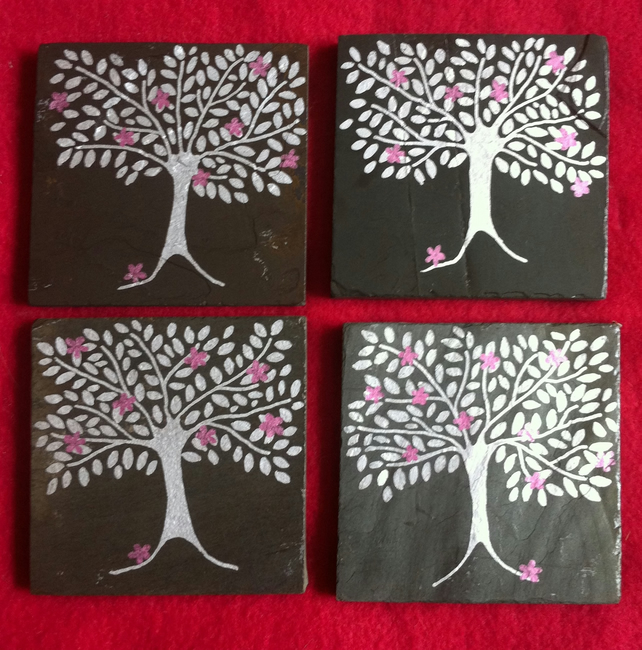 Silver and Pink Flowers Tree Slate Coasters - set of 4
