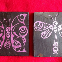 Pink Butterfly and Dragonfly Slate Coasters - set of 2