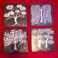 World of Trees Slate Coasters - set of 4