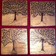 Gold Slate Coasters with black trees - set of 4