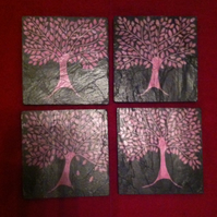 Pink Tree Slate Coasters - set of 4