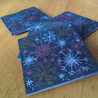 Christmas Snowflakes Slate Coasters - set of 4