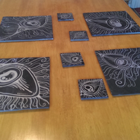 Silver Peacock Feather Slate Coasters - set of 4