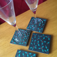 Christmas Holly Slate Coasters - set of 4