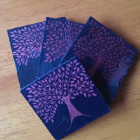 Red Tree Slate Coasters - set of 4