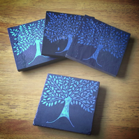 Blue Tree Slate Coasters - set of 4