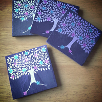 Silver Tree with Pink and Green Flowers Slate Coasters - set of 4