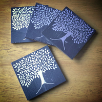 Silver Tree Slate Coasters - set of 4