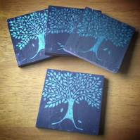 Green Tree Slate Coasters - set of 4