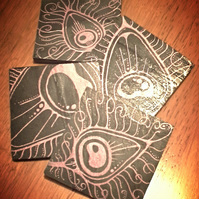 Pink Peacock Feather Slate Coasters - set of 4