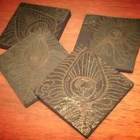 Gold Peacock Feather Slate Coasters - set of 4