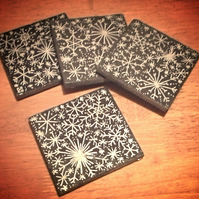 Silver Snowflakes Slate Coasters - set of 4