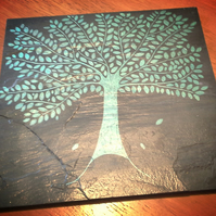 Green Tree Slate Trivet Pot Stand or Cheeseboard