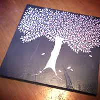 Silver Tree with Red Flowers Slate Trivet Pot Stand or Cheeseboard