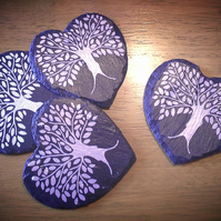 Heart Silver Tree Slate Coasters - set of 4