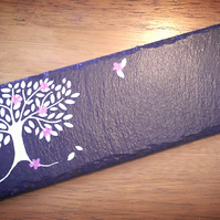 Silver Tree with Pink Flowers Slate Centre Piece Candle Holder
