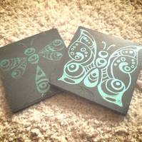 Green Butterfly and Dragonfly Slate Coasters - set of 2