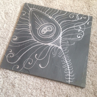 Peacock Feather Slate Trivet Pot Stand or Cheeseboard