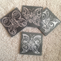 Silver Butterfly Slate Coasters - set of 4