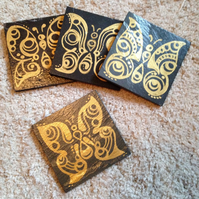 Gold Butterfly Slate Coasters - set of 4