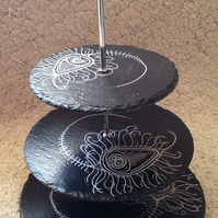 Peacock feather 3 tier slate cake stand