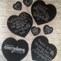 Travel Quotes Heart Slate Placemats and Coasters