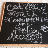 Cat hair, both a condiment and a fashion accessory Trivet Pot Holder