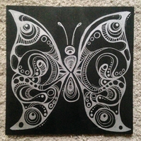 Butterfly Slate Trivet Pot Stand or Cheeseboard