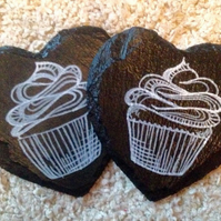 Cupcake Slate Coasters - Set of 2