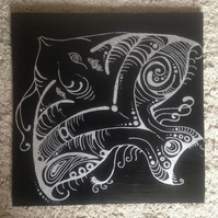 Angel Fish Slate Trivet Pot Stand or Cheeseboard