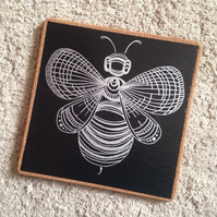 Large Silver Bumble Bee Trivet Pot Holder