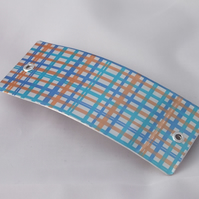 SALE: Orange and blue check hair slide