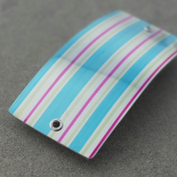 SALE: Pink, turquoise and lime striped hair slide