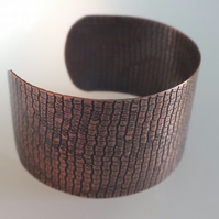 Textured Copper Cuff, with Antique finish