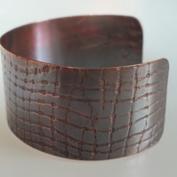 Small Textured Copper Cuff, with Antique finish