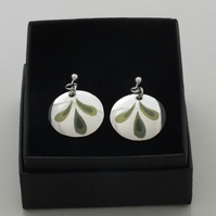 Silver earrings with green detail