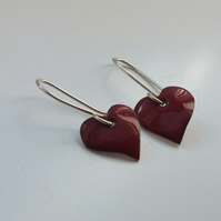 Cherry Red Enamelled Heart Earrings