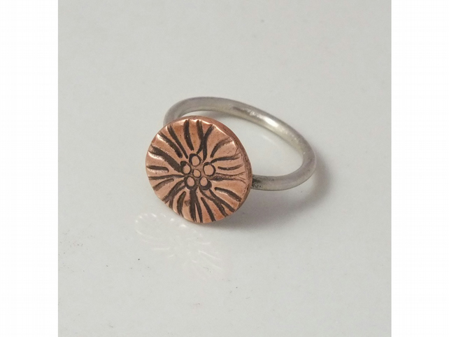 Copper and silver ring, size N