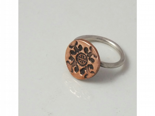 Silver and copper ring, size L