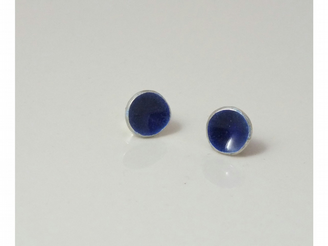 Dark blue enamel silver earrings