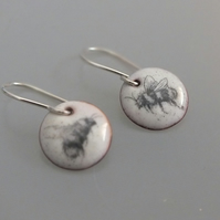Bee enamel earrings