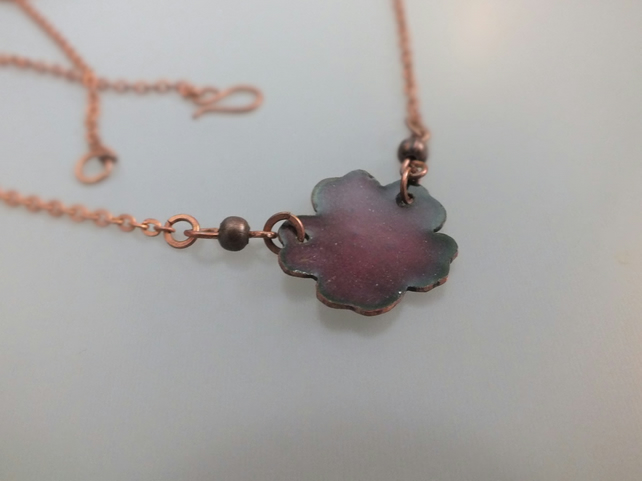 Burgundy enamel flower necklace