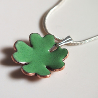 Four leaf clover enamelled pendant