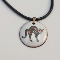 Sugar Skull Cat Pendant (arched back)