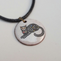 Sugar Skull Cat Pendant (lying in wait)
