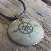 Compass enamelled pendant