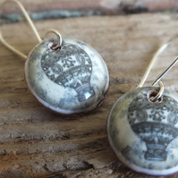 Hot air balloon enamel earrings