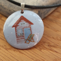 Pink Beach Hut Enamelled Pendant