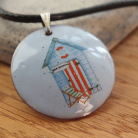Blue Beach Hut Enamelled Pendant